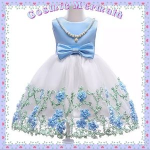 Other - 🆕💙Blue Floral Princess Pearls & Bow Tutu Dress💙